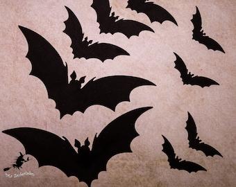 11 Bats   Moss Rubber   Halloween   Decoration   Garland   Creepy   Big
