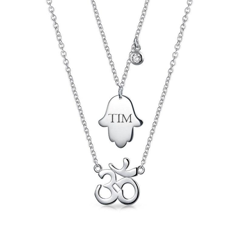 Personalized Hamsa Hand Of God Aum Om Ohm Sanskrit Symbol Yoga Pendant Necklace 925 Sterling Silver Custom
