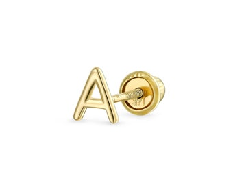 Abc Minimalist Real Yellow 14K Gold Capital Block Alphabet Letter Initial Cartilage Ear Lobe Piercing Stud Earring Screw Back For Teen Women