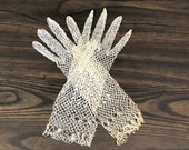 Vintage Cream Tatted Net Gloves with Scalloped Cuffs, Wrist Length, Size XS -Sm