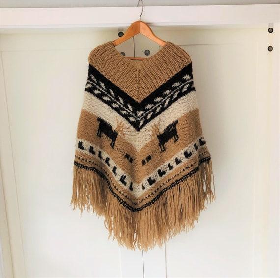 Alpaca Poncho Cream Crocheted Neck made in Ecuador
