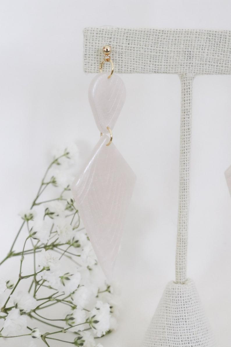Polymer Clay Earrings Statement Earrings Gifts for her Minimal Earrings Bridal Earrings Gatsby inspire EPONINE Diamond shape Clay Earrings