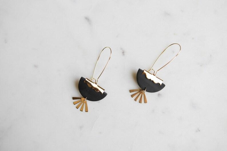 Witchy Earrings Halloween Earrings black and gold dangle drop earrings celestial earrings statement earrings SIMONE in noir Clay Earrings