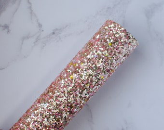 Rose Gold Premium Holographic Chunky Glitter Fabric (G15) - A4 Sheet