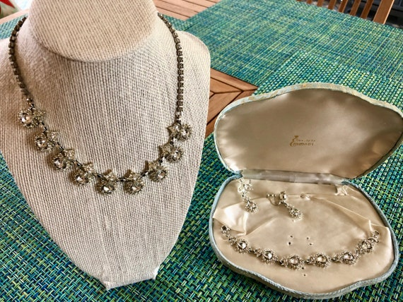 Rhinestone necklace,, bracelet and earring ensembl