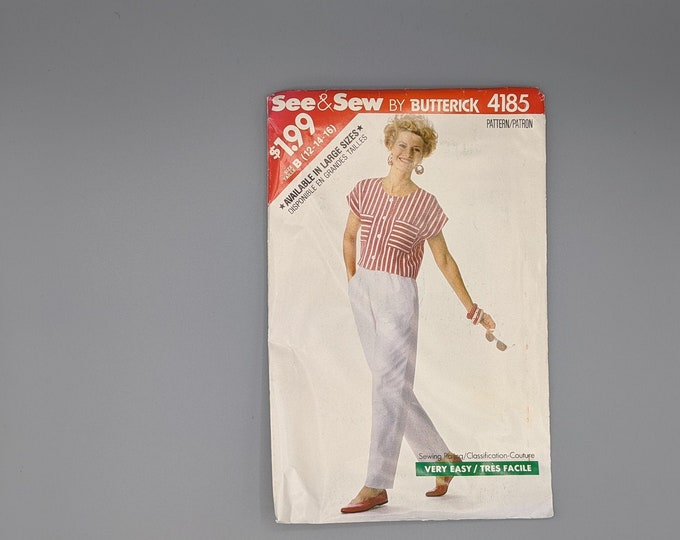 Vintage 80's Uncut Sewing Pattern -  See & Sew -  Butterick 4185 - Crop Top and Pants in Petite and Misses Size 12  14  16