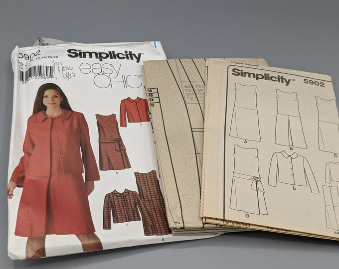 Uncut Sewing Pattern - Easy Simplicity 5902- Misses & Petite Sizes 12  14  16  and 18  - Dress  Jumper  Skirt  Jacket - Business Wardrobe