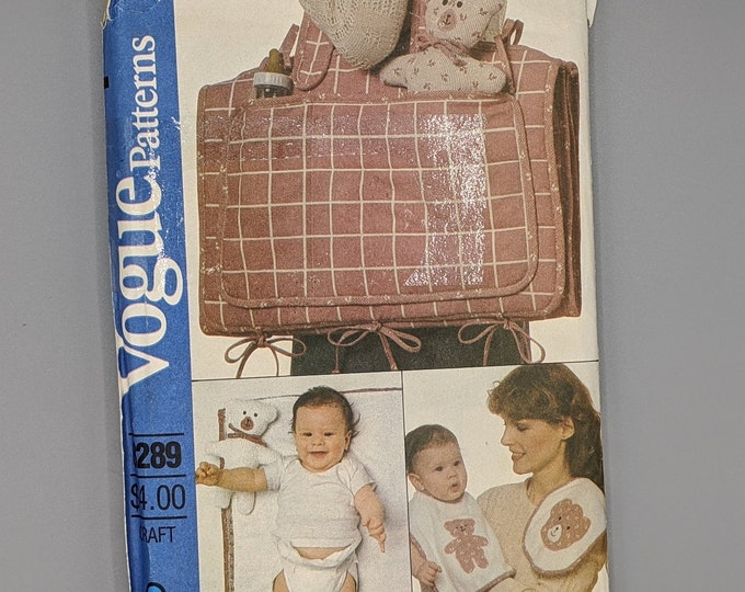Diaper Bag  Changing Pad  and Baby Accessories  -  Teddy Bear Baby Items  -  Uncut Vintage Vogue 8289 Sewing Pattern