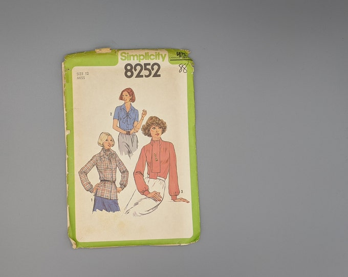 Uncut Vintage 70's Sewing Pattern -  Misses Size 12 Blouse  in Three Versions - Simplicity 8252