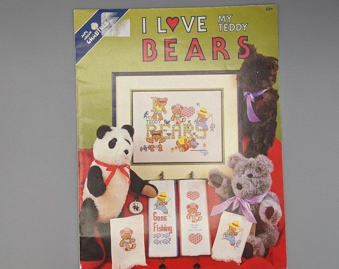 Teddy Bear Cross Stitch Charts  -  I Love My Teddy Bears by Jame Arlyn Crabtree  -  Vintage 1986