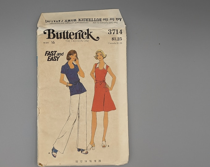 Uncut Vintage 1970's Sewing Pattern for Misses Size 16 Dress  Top  & Pants  - Butterick 3714   Fast and Easy