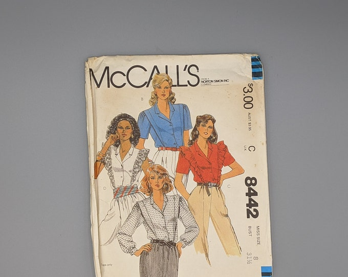 Uncut Vintage 80's Sewing Pattern - Blouse in Four Versions - Misses Size 8 - McCall's 8442