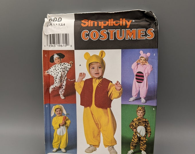 Uncut Sewing Pattern for Children's Costume for Dalmatian  Bunny  Tiger  Piglet  Pooh Bear - Size A - Simplicity 0688