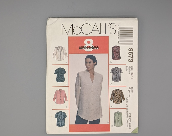 """Uncut McCall's 9673 Sewing Pattern - """"8 Great Looks"""" Blouses for Misses Sizes 12 and 14"""
