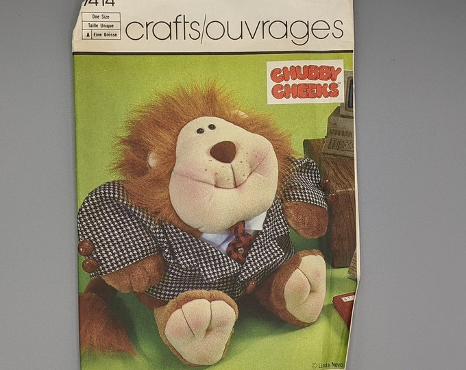 Uncut Vintage Simplicity Crafts Sewing Pattern 7414 -  Chubby Cheeks - Ryan O'Lion  Stuffed Doll and Clothes