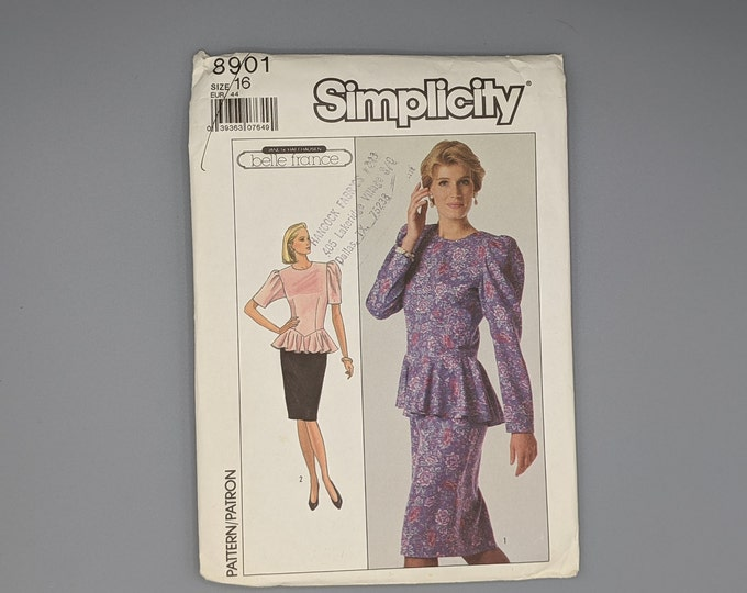 Uncut Vintage Sewing Pattern 1988 Simplicity 8901 Dress with Peplum Two Sleeve Lengths Misses Size 16  Belle France Design