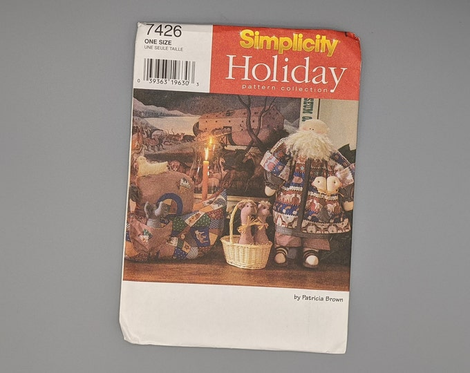 Uncut Sewing Pattern Simplicity 7426 Holiday Pattern Collection - Noah's Ark - Stuffed Doll and Clothes