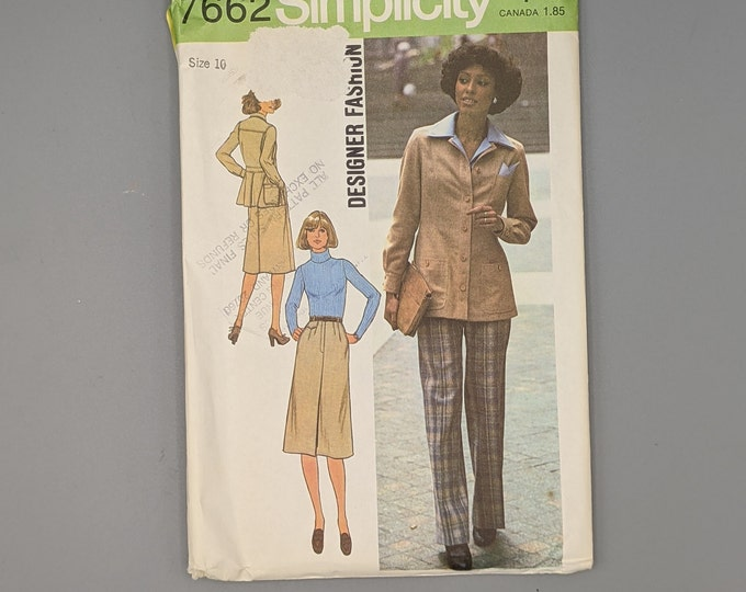 Uncut Vintage 70's Sewing Pattern Pants, Skirt, Jacket  for Misses Size 10 - Simplicity 7662