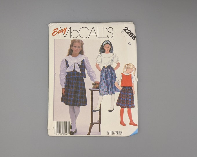 """Uncut Vintage """"Easy"""" McCall's 2296 Sewing Pattern for Girls Size 10 Classic Blouse, Top, and Skirt - Cute Easter Outfit"""