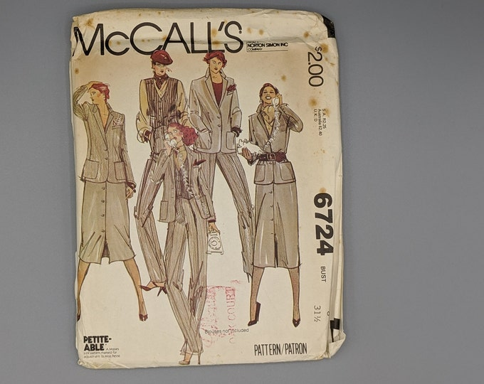 Uncut Vintage 70's Sewing Pattern for Misses Size 8 Jacket  Vest  Skirt  and Pants - McCall's #6724