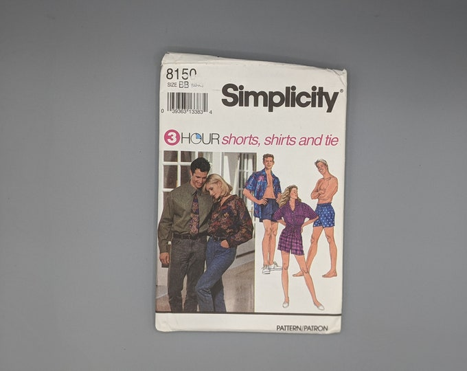 Uncut Simplicity Sewing Pattern 8150 for  - 3 Hour - Shorts and Shirts  - Unisex Size BB  Large & Extra Large  - Includes Necktie