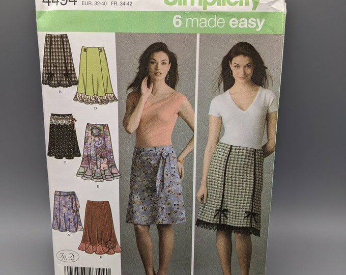 Uncut Sewing Pattern for Six Easy Skirts for Misses Sizes 6   8  10  12  14  - Simplicity 4494 -  In K Designs - Two Lengths