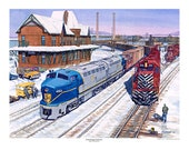 Railroad Print Lehigh Valley, Delaware Hudson quot Interchange Partners quot Signed and numbered by the artist