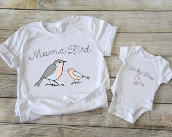 Papa Bird Mama Bird Hatchling Matching Tops Family T-Shirts and Baby Bodysuit