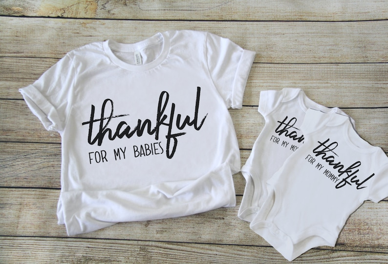 Thankful for MOMMY and BABY thanksgiving matching tshirt and onesie set Coordinate new mom and babe shirts