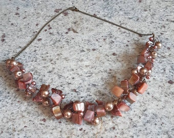 adjustable necklace,statement necklace clustered necklace SASSY Wood and Shell necklace .Handmade necklace chunky boho necklace,jewelry,