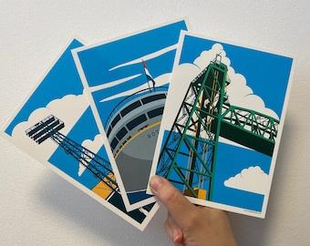 Set of art prints 'Roffa State of Mind   The Lift   De Kuip   SS Rotterdam'