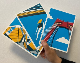 Set of art prints 'Roffa State of Mind   The Watertaxi   The Willemsbrug   The Cube Houses'