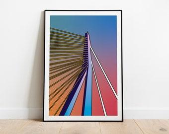 Artprint 'Radiant Gradient   Erasmus Bridge'