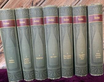 Heinrich Heines Werke 7 Books  German Books University Classical Literature Academical Research Vintage Books Old German 1920s