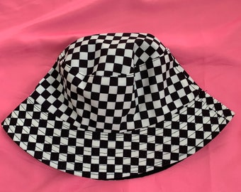 Handmade Crochet Hot Pink Smiley Face and Black and White Checkered Bucket Hat