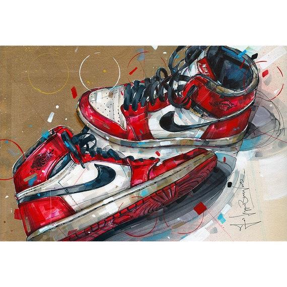 Nike air Jordan 1 Chicago 1985 painting