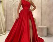 Gorgeous one shoulder satin prom slit dress, bridesmaid slit dress