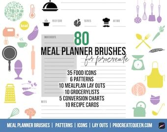 Food planner brushes, recipe journal brushes, meal planner brushes, recipe journal brushes, procreate brushes, procreate planner brushes,