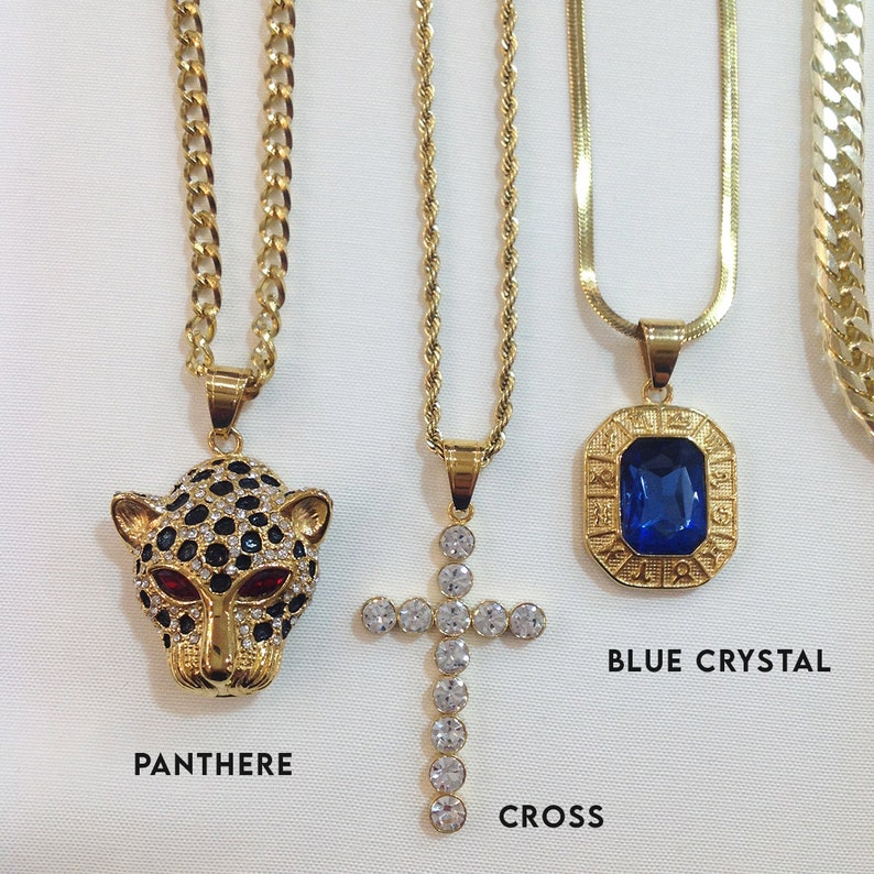 Womens Jewelry Crucifix Necklace Panthere Pendant Layered Gold Chain Necklace Blue Crystal Snake Necklace Necklace for Women
