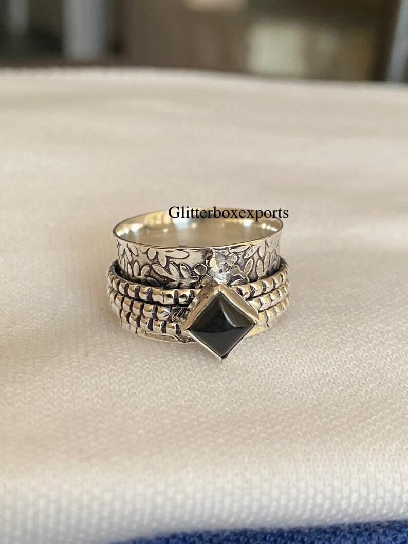 Black Onyx Ring 925 Sterling Silver Ring Black Onyx Spinner Ring Spinner Meditation Ring Thumb Ring Sterling Silver Spinner Ring