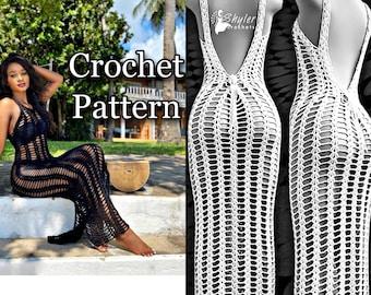 crochet bare back beach cover up dress pattern