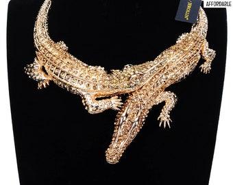 Alligator Women Necklace Big Choker Crocodile Collar Maxi Bib Inlay Rhinestones Women's Jewelry