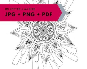 Mandala printable colouring page