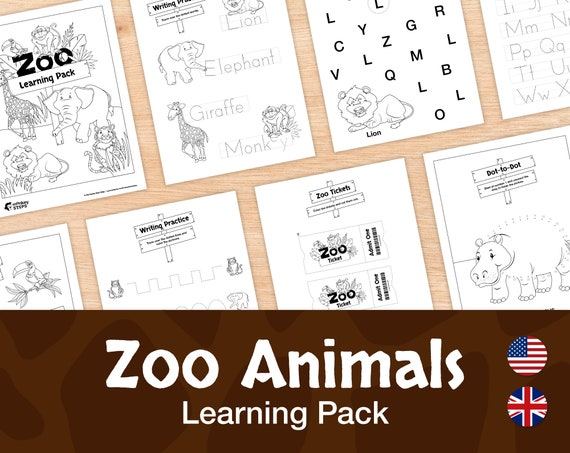 Zoo Animals Packet 25 Black and White Printable Worksheets