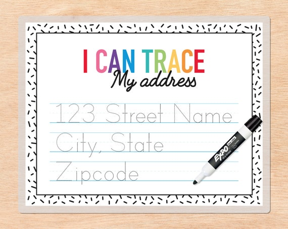 Custom Address Tracing Page Personalized Preschool Learning Etsy