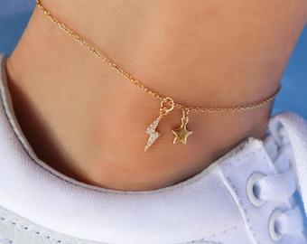 Modern Anklet Gifts For Her Anklet Dainty Anklet Minimalist Anklet Neutral Anklet Neutral Colors Daisy Anklet Delicate Anklet