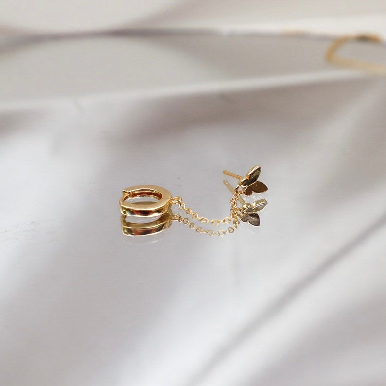 Cute Dainty Butterfly Hoop Huggie Butterfly Valentines Christmas Gold Earring Tiny Minimal Modern Mini Birthday Gift Dainty