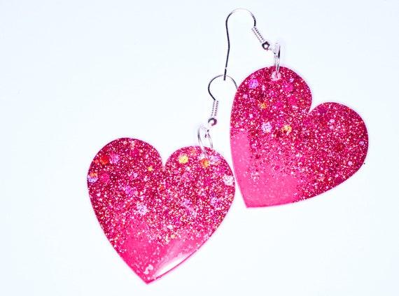 Glitter Pink Ombre Heart Dangle Earrings