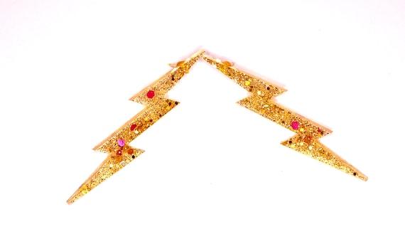 Gold Lightning Stud Earrings