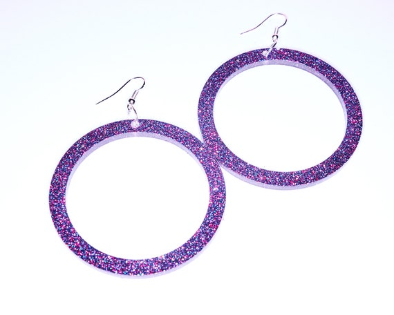 Large Purple Glitter Dangle Hoop Earrings